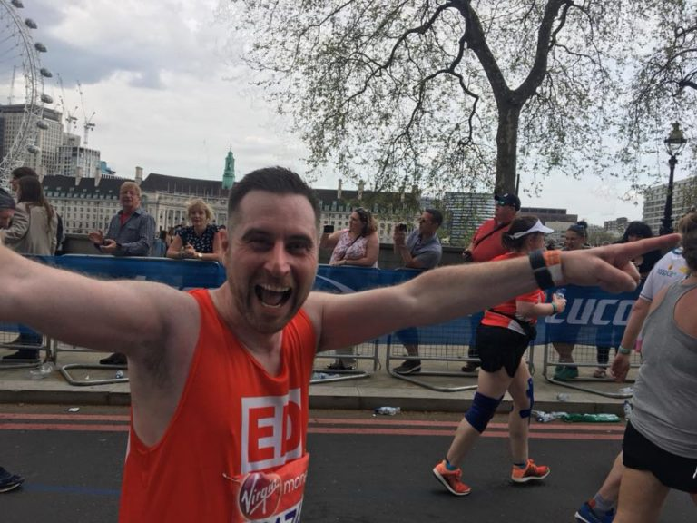 Ed Scott running the 2018 London Marathon for Rhythms of Life