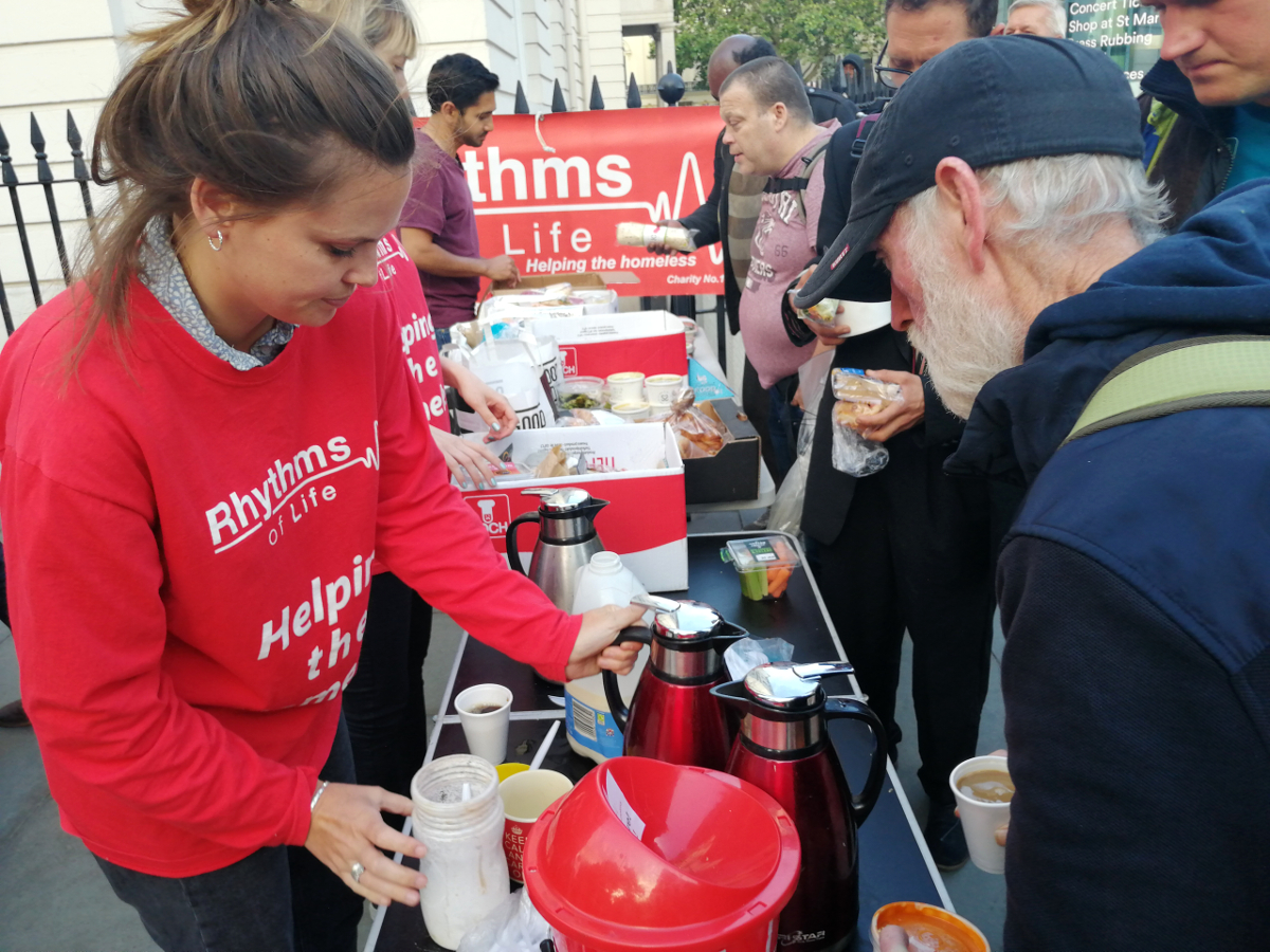 Serving Food in Trafalgar Square